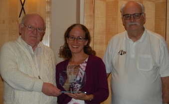 Gerry Walsh (left) and Roger Edwards (right) present ECF Magazine of the Year 2017 award to Julie Leonard (BCA Gazette Editor)